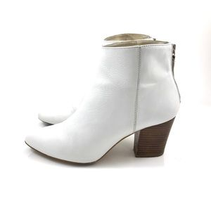 ZARA Basic Collection white leather ankle boots